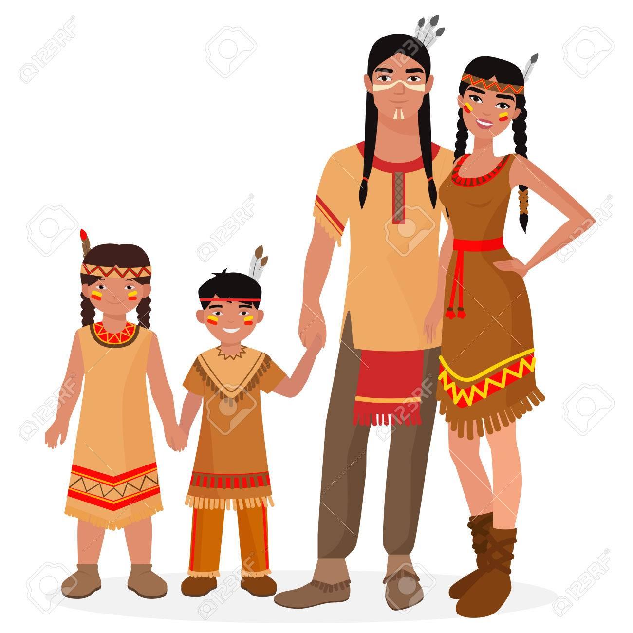 569b5abf1 Familia tradicional india americana nativa. El hombre indio americano y de  la mujer. niño
