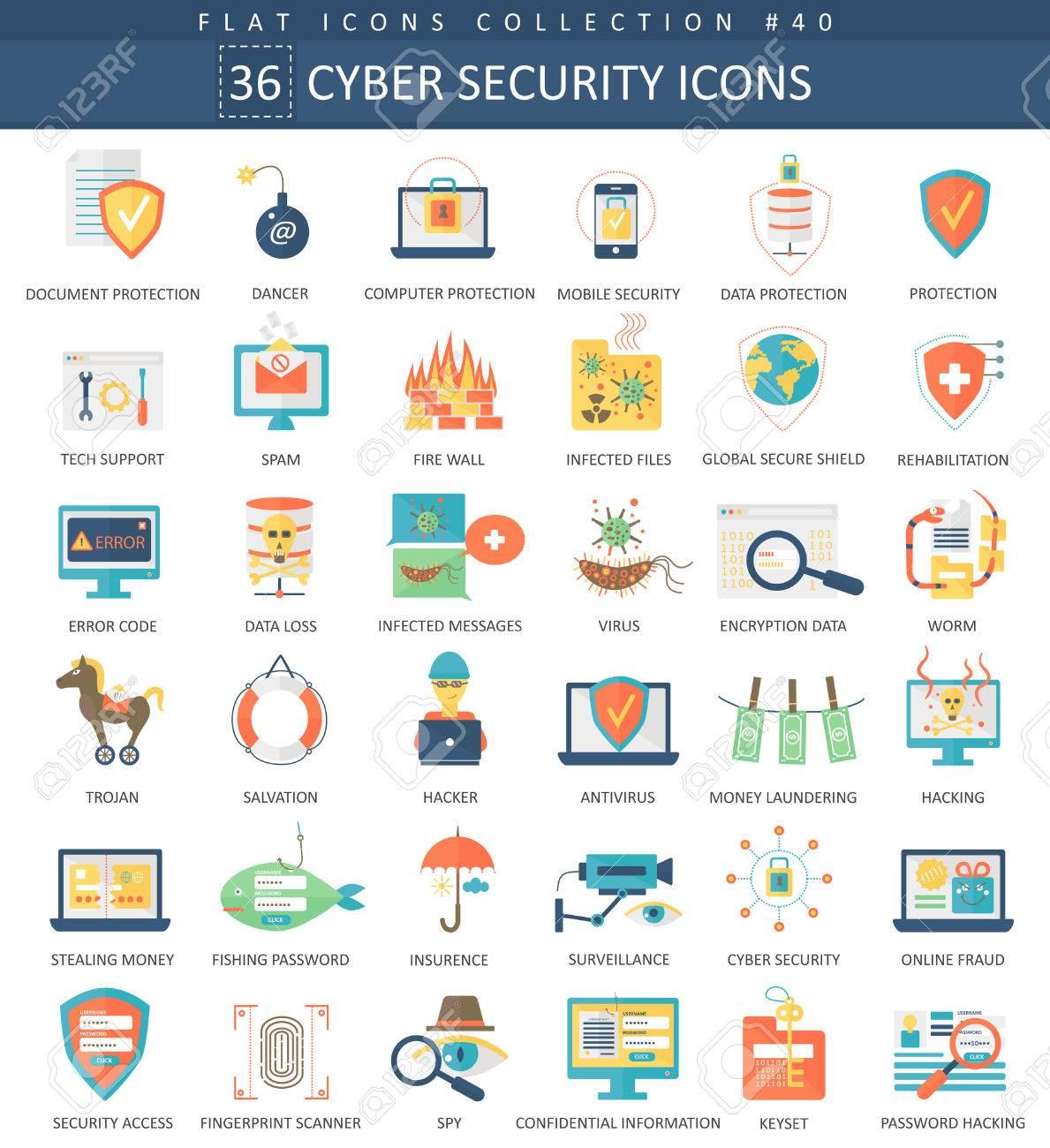 Vector Cyber security flat icon set. Elegant style design - 59739879
