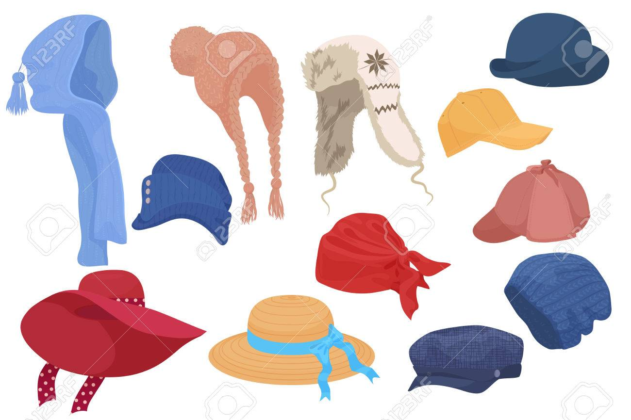 different kind of cartoon hats set collection isolated. royalty free