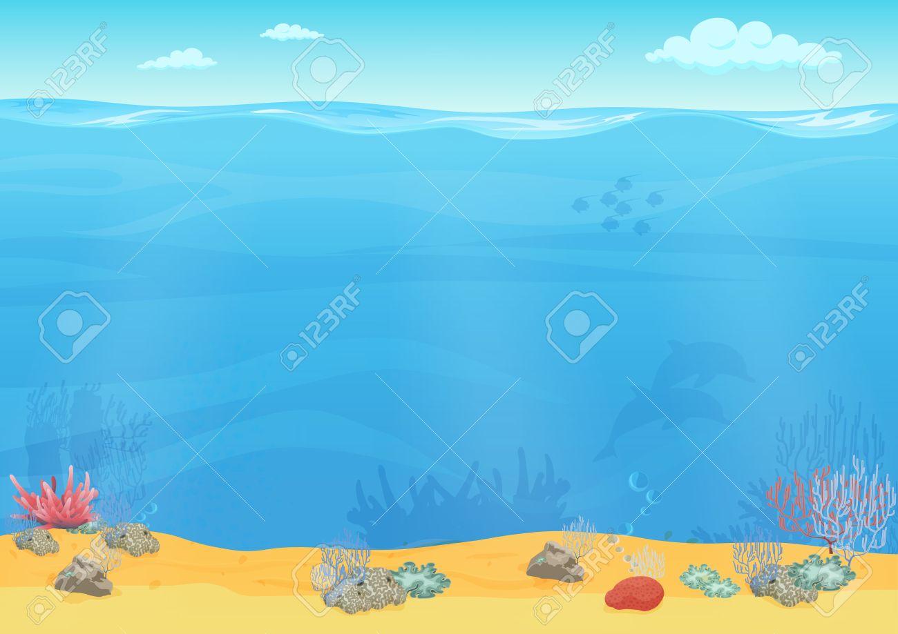 Cartoon sea bottom background for game design. Underwater empty seamless landscape - 60316293