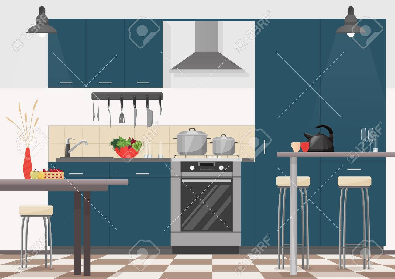 Modern Kitchen Interior With Furniture And Cooking Devices Cartoon