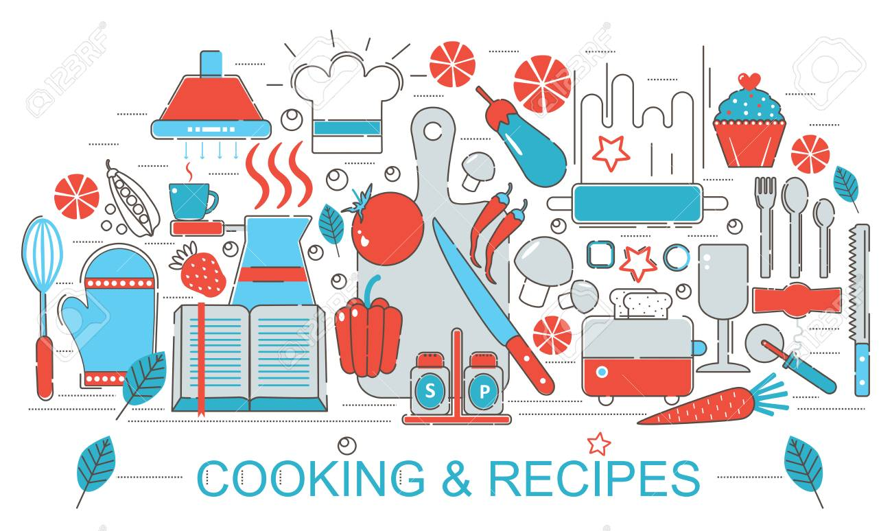 Cocina De Diseño Plano Moderno Delgada Línea Concepto De Cocina Y ...