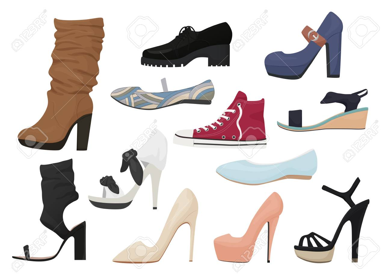 Ensemble de chaussures femme isolé. Collection d'icônes chaussures femme fille saison