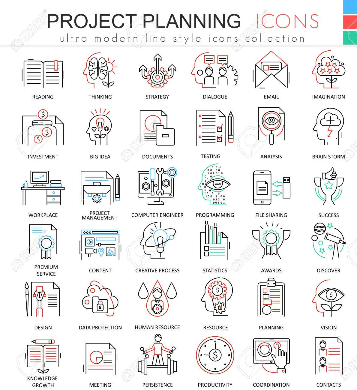 vector business finance project planning ultra modern color outline