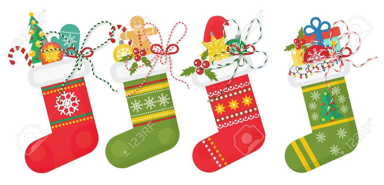 Satz Von Weihnachten Socken In Rot Undd Grünen Farben Mit ...