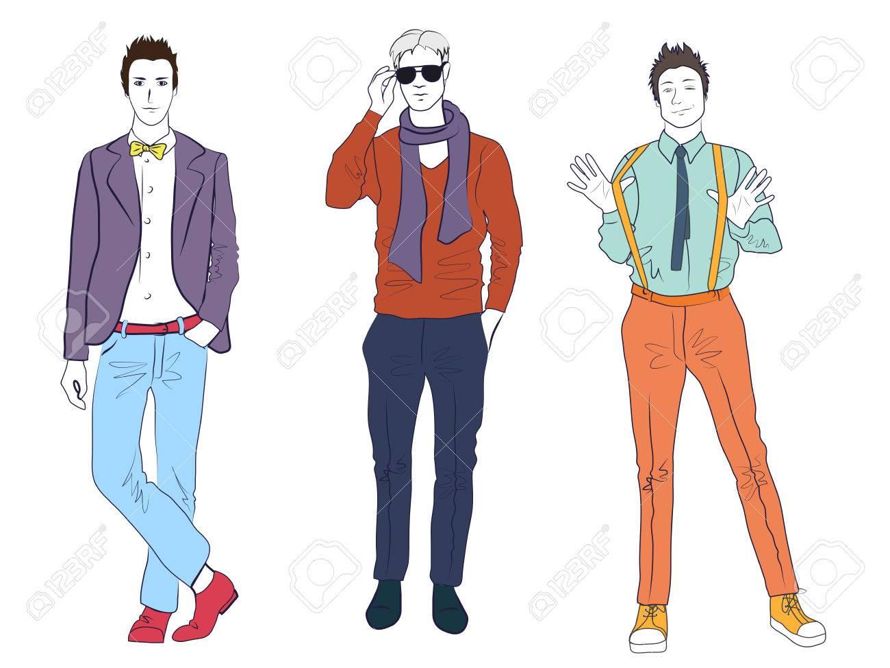 brand new 097dc eeafa Handsome giovani uomini modelli da uomo in vestiti casuali moda moderni  isolati. Piatti schizzo linea uomo persone impostare