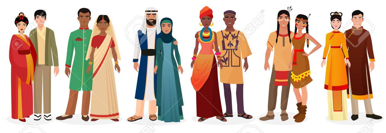 People in national traditional dress clothes. International couples. Native america, japan, china, muslim arabian, india, africa people together set - 66984512