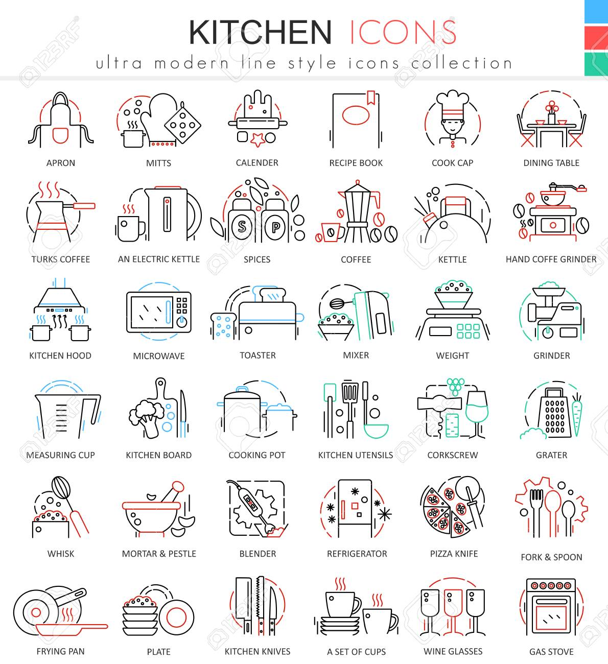 Vector Kitchen Color Flat Line Outline Icons For Apps And Web ...