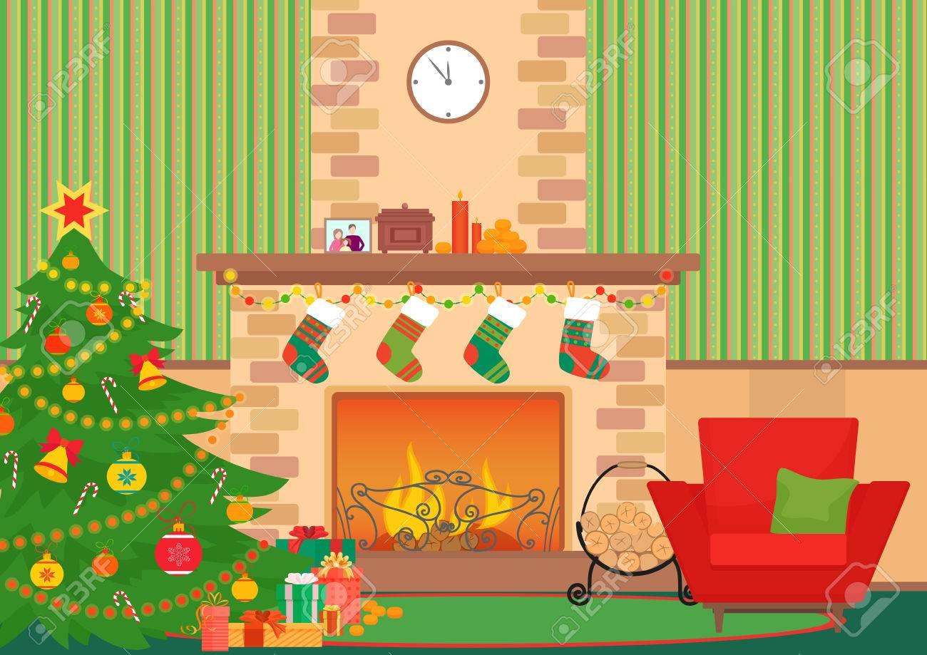 Christmas Livingroom Flat Interior Vector Illustration. Christmas ...