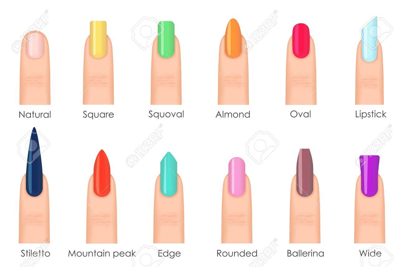 Nails Shape Icons Set. Types Of Fashion Bright Colour Nail Shapes ...