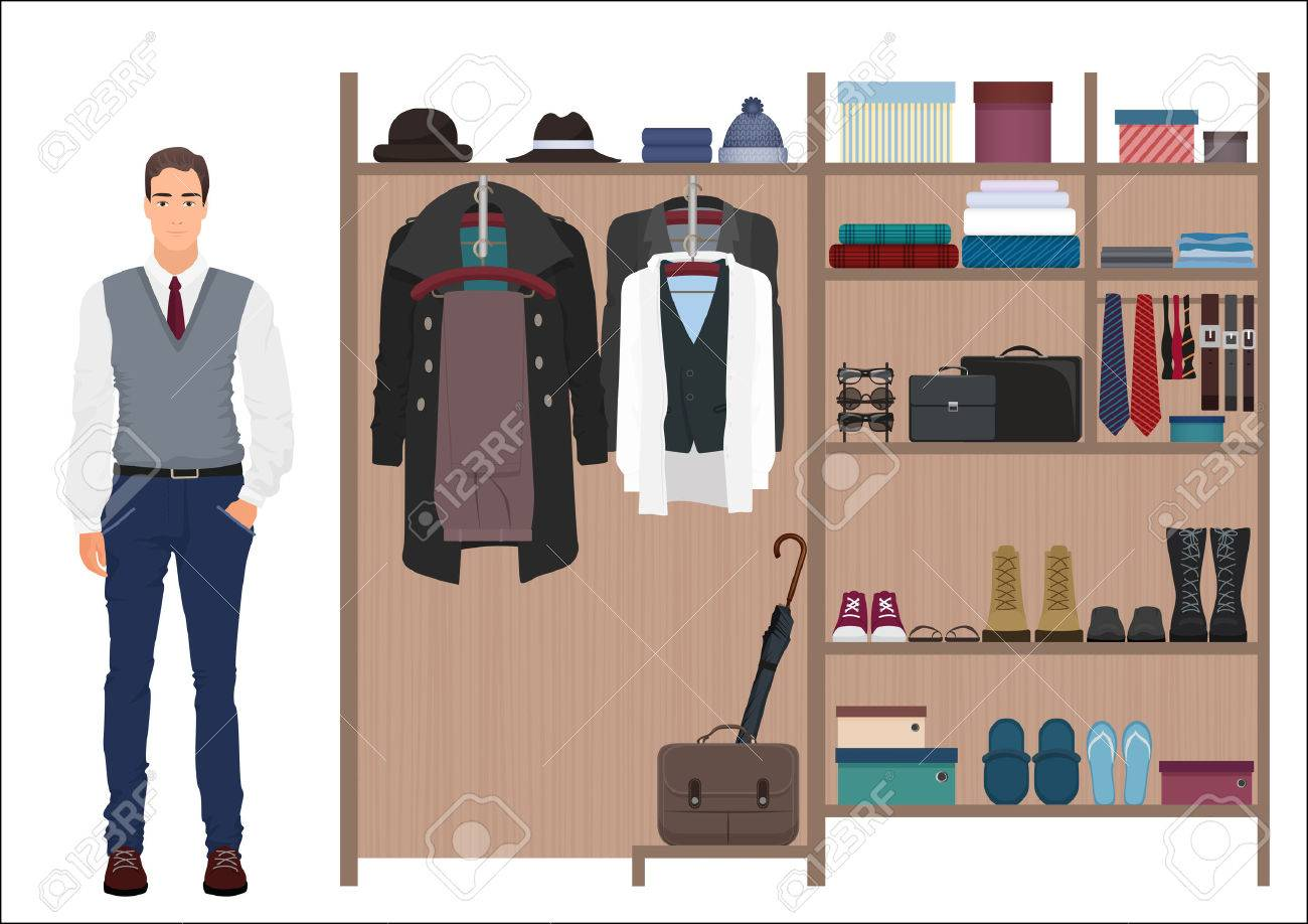 621c2758474 Stylish fashion man and mens wardrobe. Vector Mens dressing room design.  Clothes and shoes
