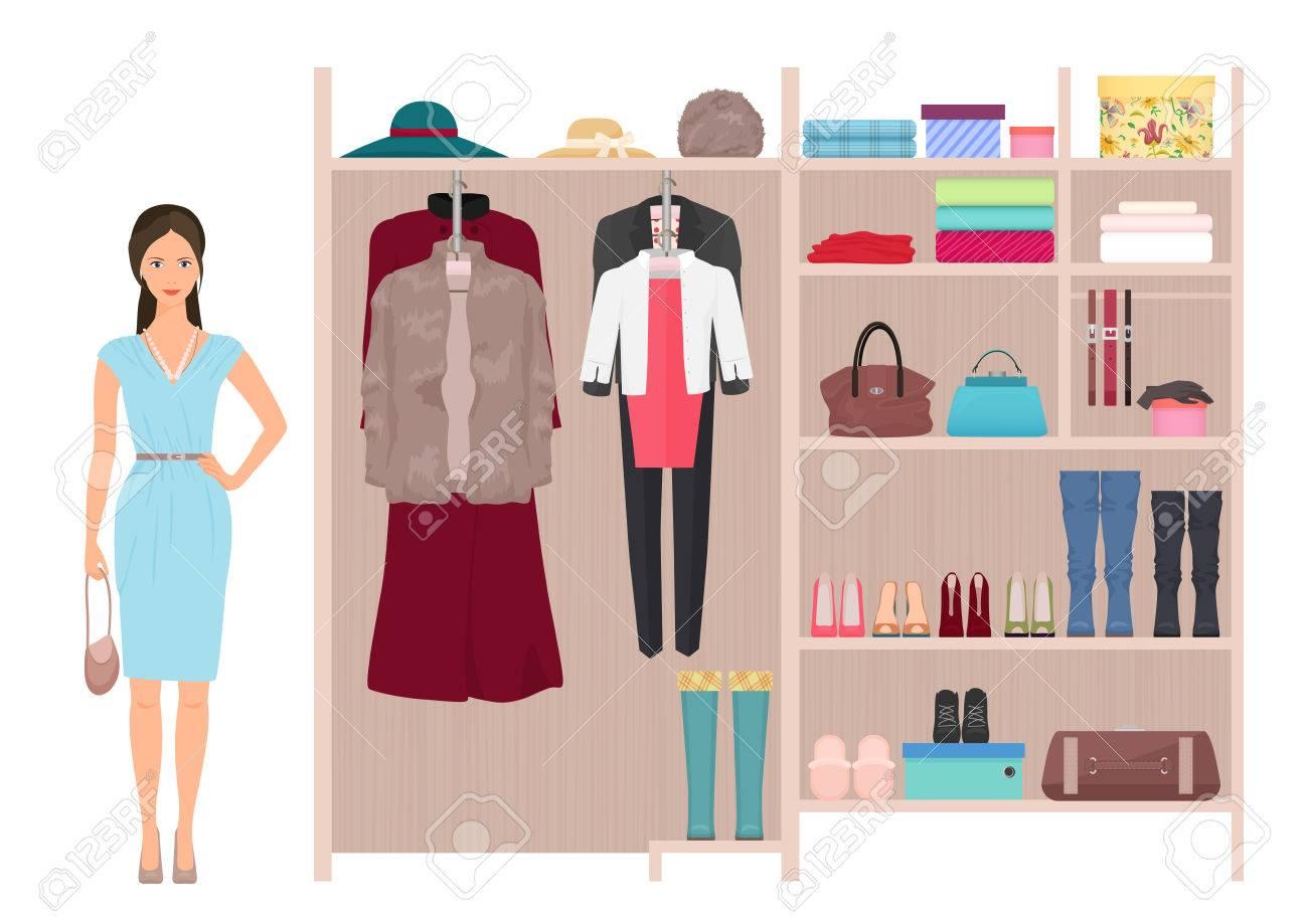 05d8c8f415fe Dama de la moda para mujer bella y armario. Vector de diseño para mujer del  vestuario. Ropa y zapatos en perchas.