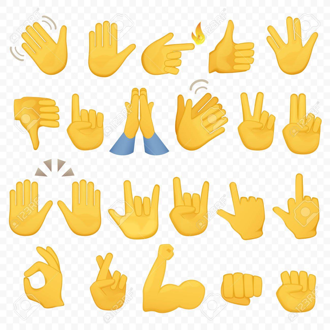 Set of hands icons and symbols. Emoji hand icons. Different gestures, hands, signals and signs, alpha background vector illustration. - 72780345