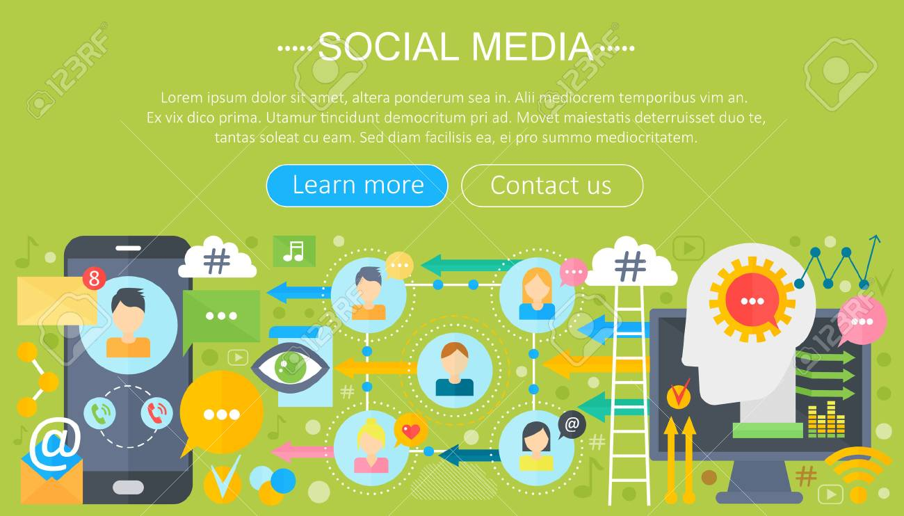 Modern Flat Design Social Media Concept Social Media Icons Website Royalty Free Cliparts Vectors And Stock Illustration Image 74192038