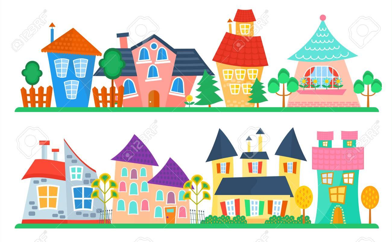 Banque dimages collection de maisons de dessin animé mignon jeu de maison drôle vecteur coloré enfant rue des enfants