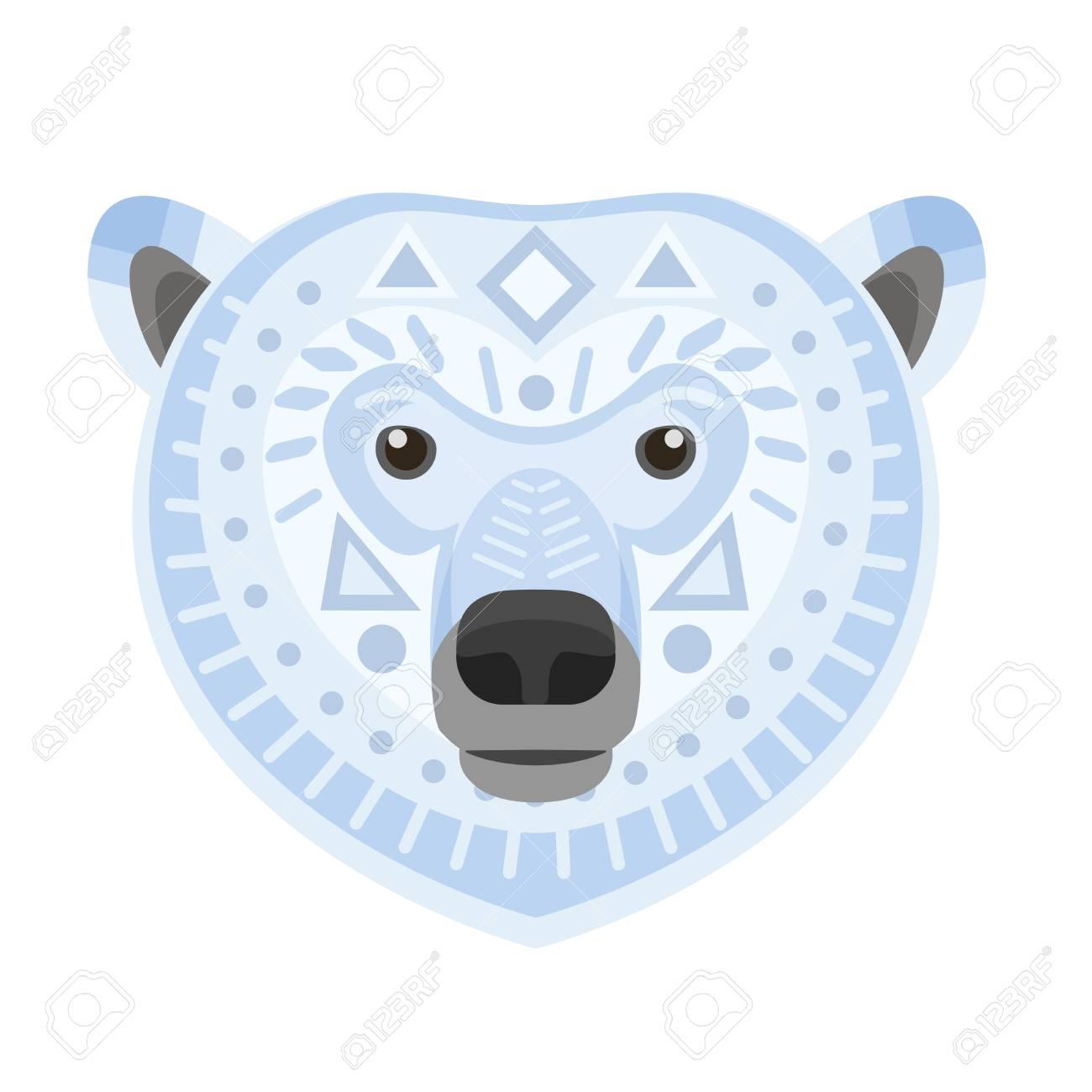 polar bear head logo white bear vector decorative emblem royalty