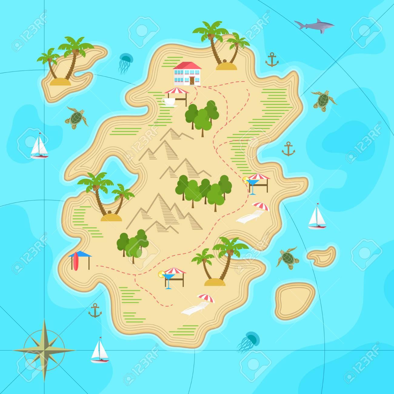 Cartoon tropical island in ocean. Top view exotic island map. Vector game design for app. - 77007262
