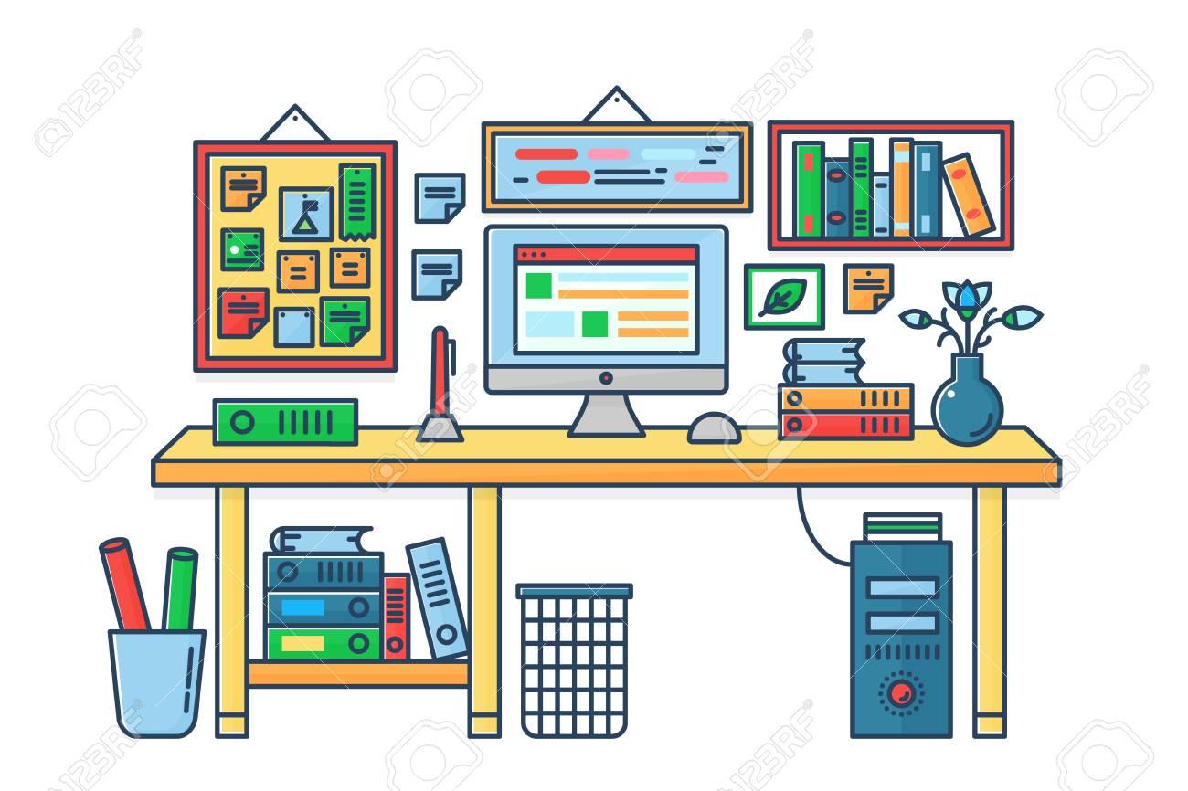 Banque d images - Illustration vectorielle d un ordinateur placé sur un  bureau. Style de ligne de couleur de table de pièce plat. f1c72a487999
