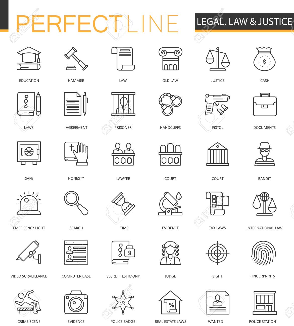 Black classic web Law and justice icons set. - 78912501