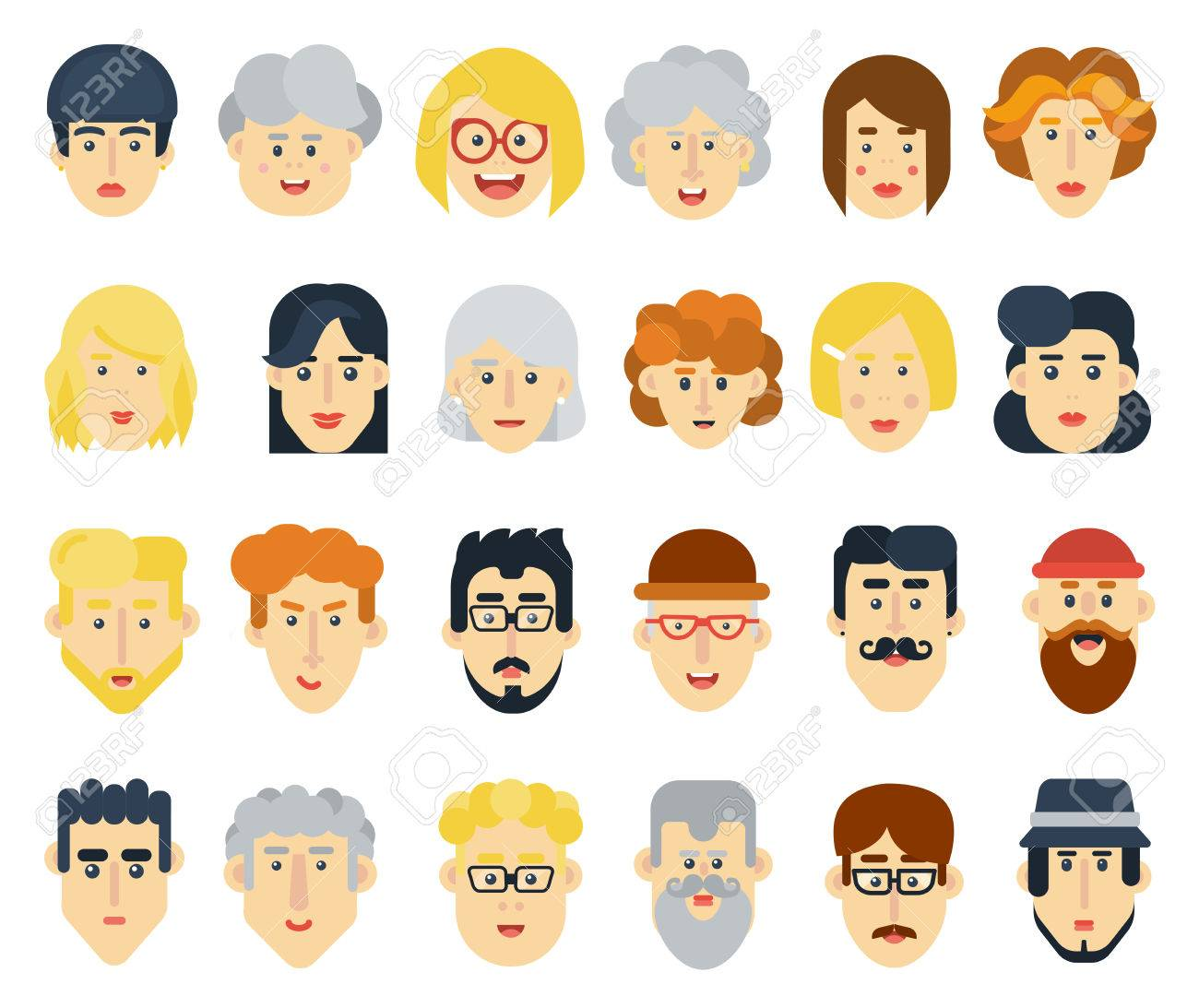 Funny flat avatars icons set positive male and female characters vector illustration stock