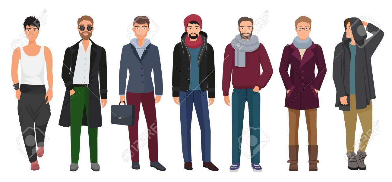 Handsome And Stylish Men Set Cartoon Guys Male Characters In