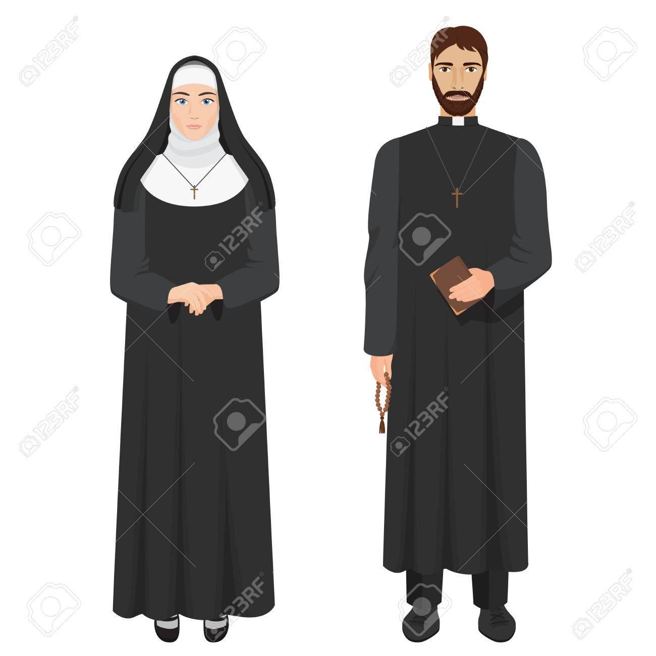 Catholic priest and nun. Realistic vector illustration. - 79636374