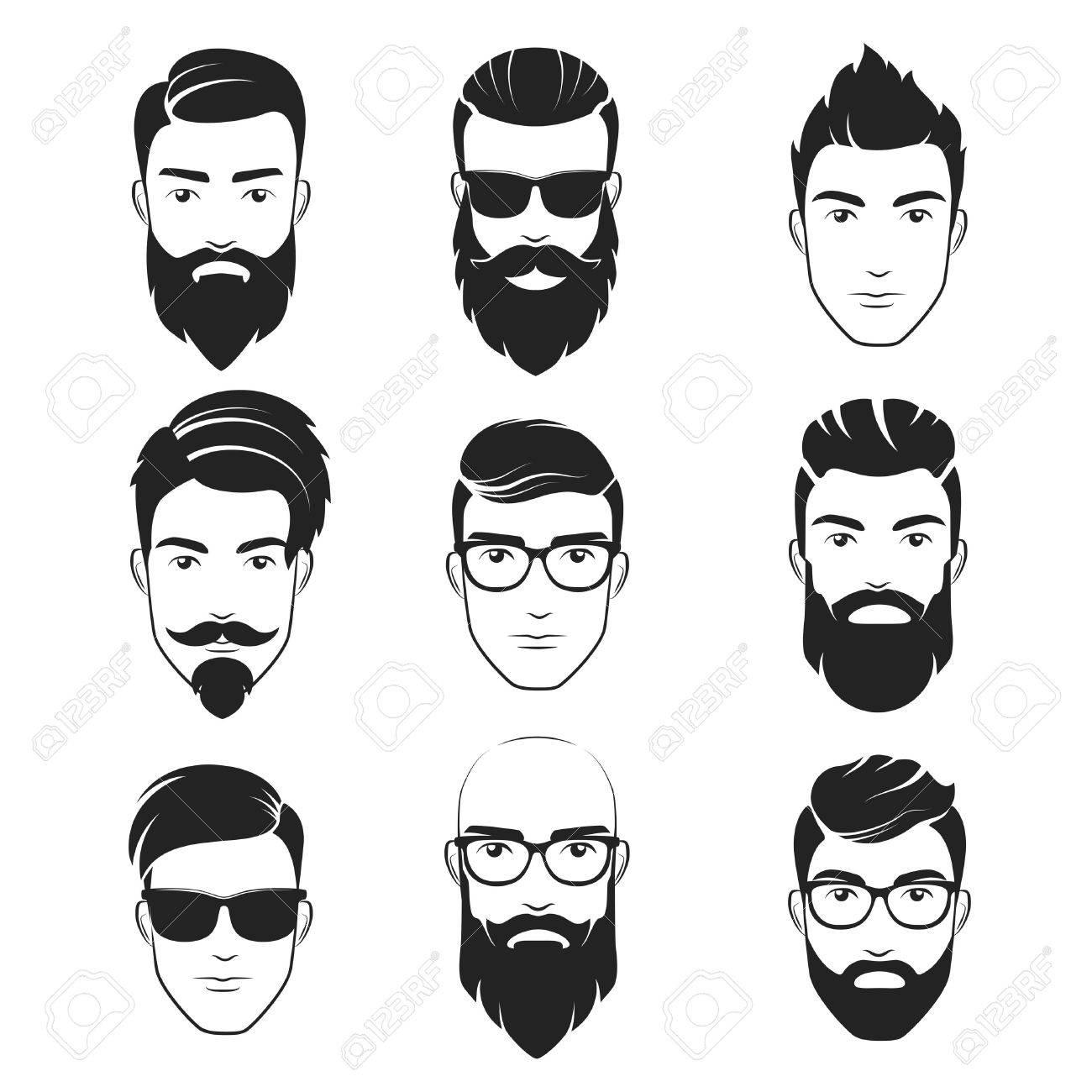 Set Von Vektor Bartigen Hipster Manner Gesichter Frisuren Barte