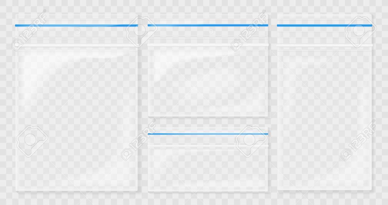 Empty Transparent Plastic Pocket Bags. Blank vacuum zipper bag. polythene container set on the transperant background. - 80201479