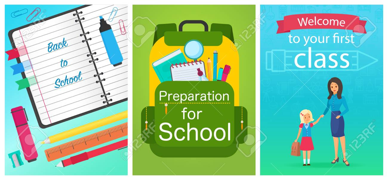 4af27a47bc1 Vector - Welcome back to school concept template. School equipment  notebook, backpack and woman teacher with girl pupil kid. Vector collection  of cartoon ...