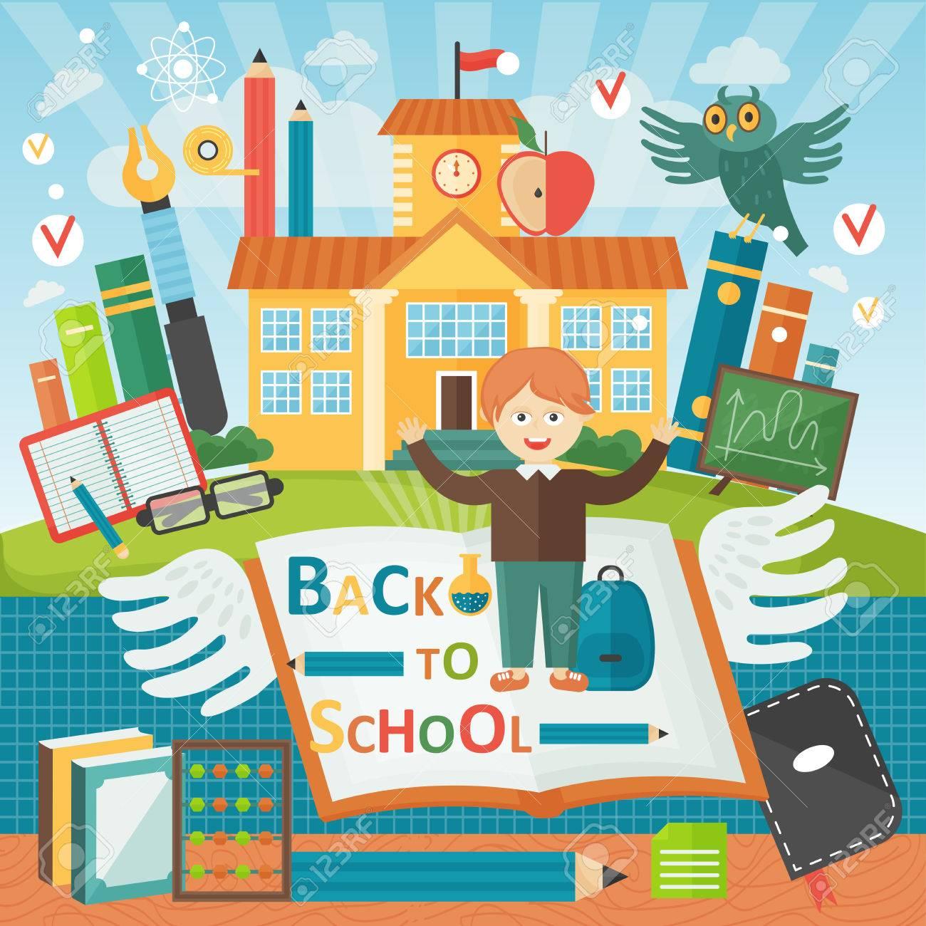 Bienvenido De Nuevo Al Colegio. Linda Escuela Niño Plantilla De ...
