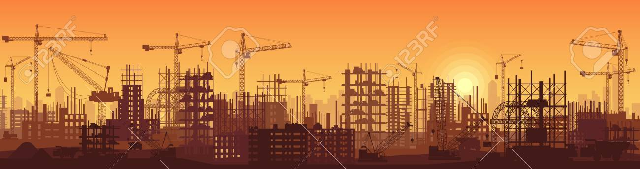 Wide high detailed banner illustration silhouette in sunset of buildings under construction in process. - 85312717
