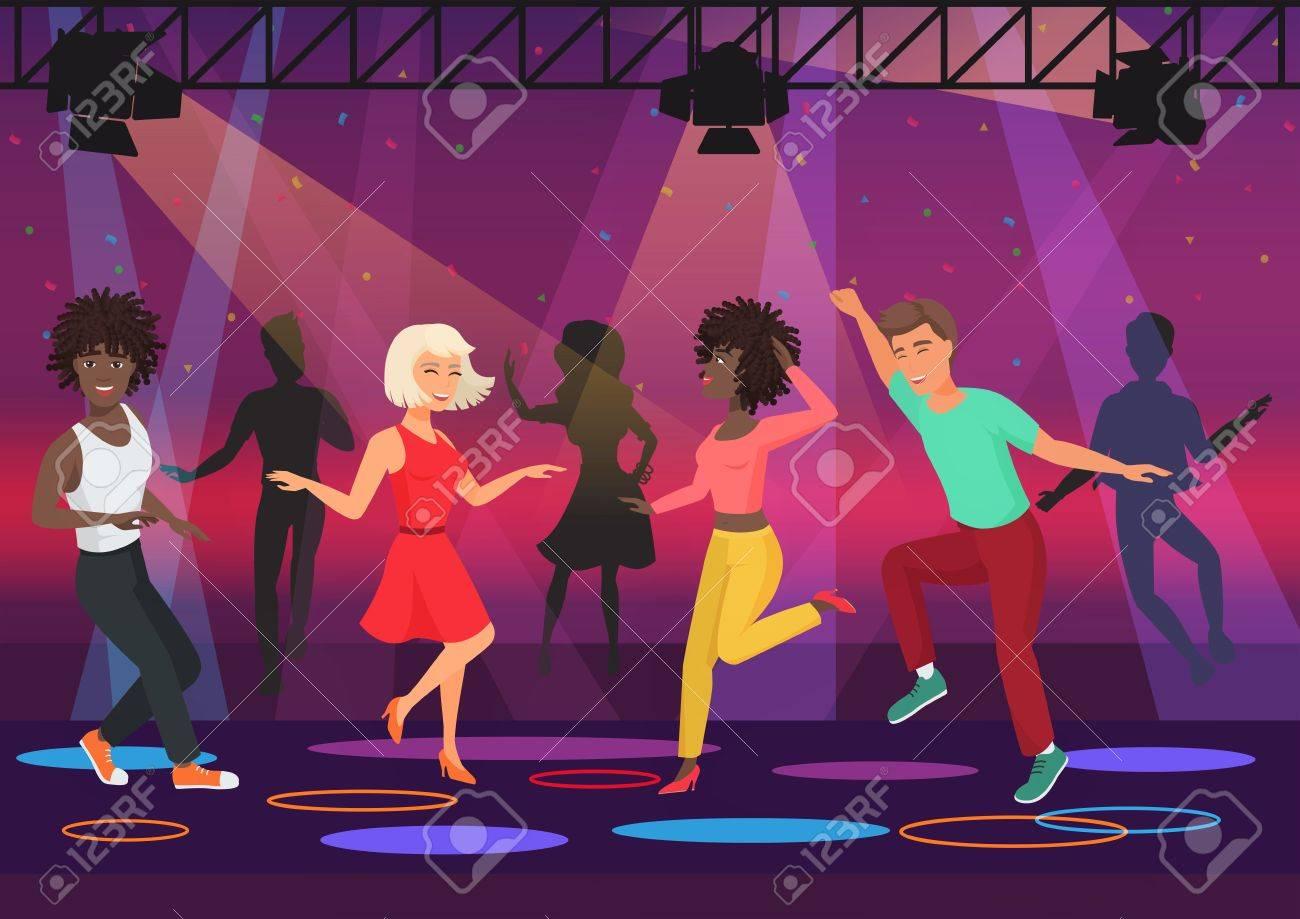 688bc9831 Foto de archivo - Jóvenes multi personas de ética parejas bailando en focos  de colores en el club nocturno fiesta de noche. Ilustración vectorial de  dibujos ...