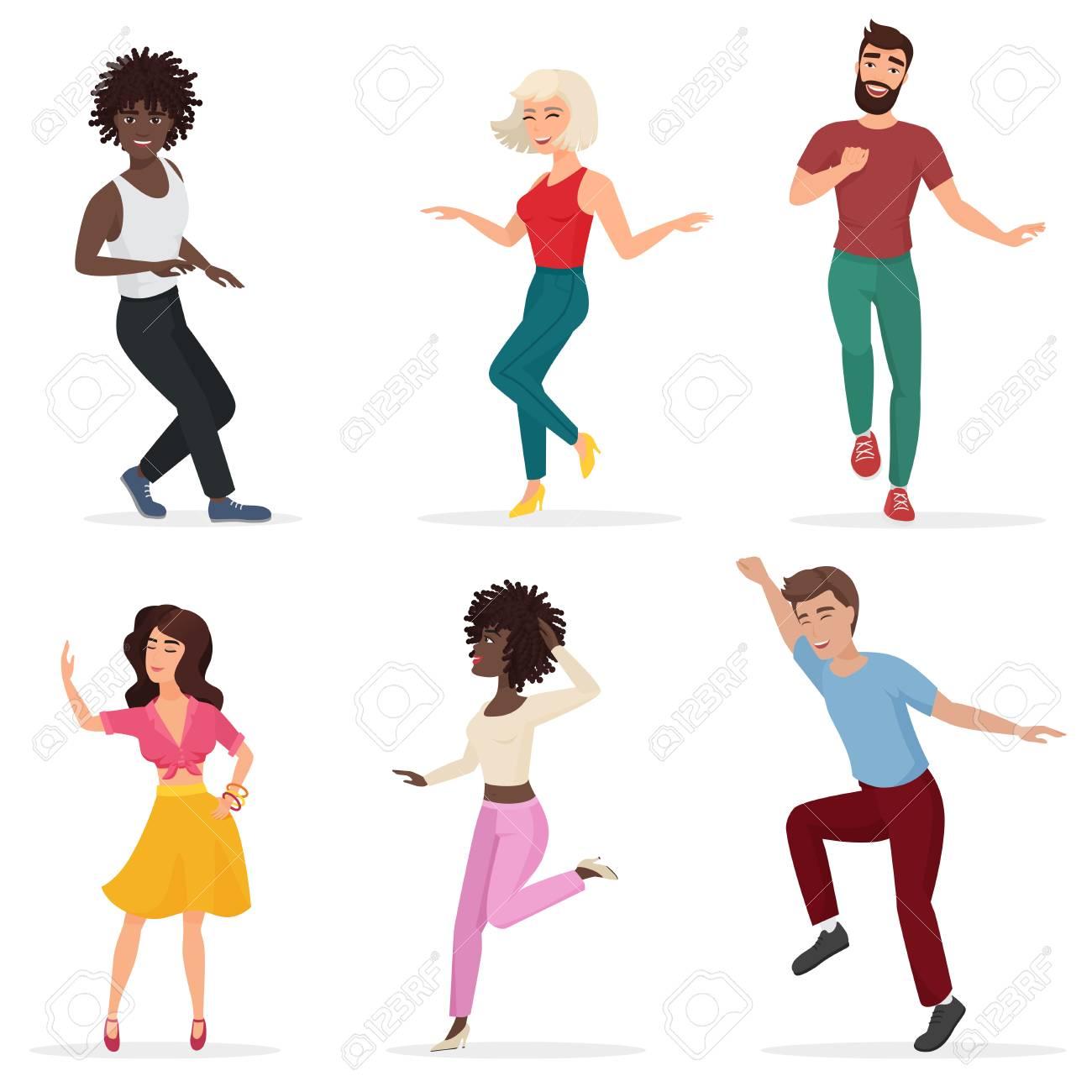Bailando Gente Joven Happy Multi Ethic Hombres Y Mujeres Se Mueven