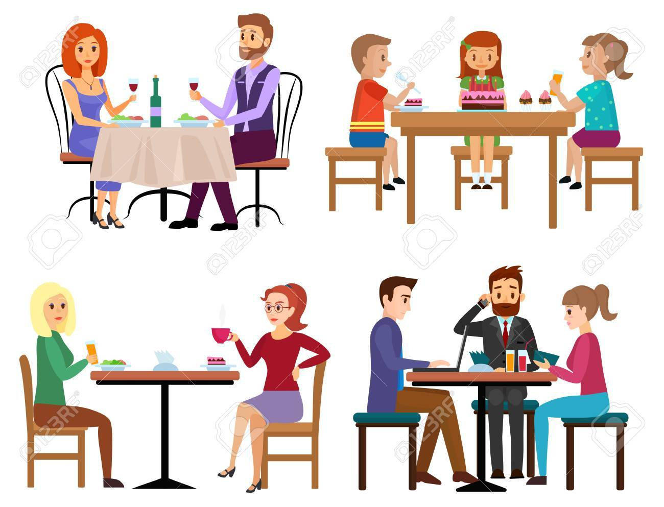 Eating people set. Couple friends family children and businessman sitting in restaurant cafe or bar isolated. Cartoon vector illustration. - 85779773