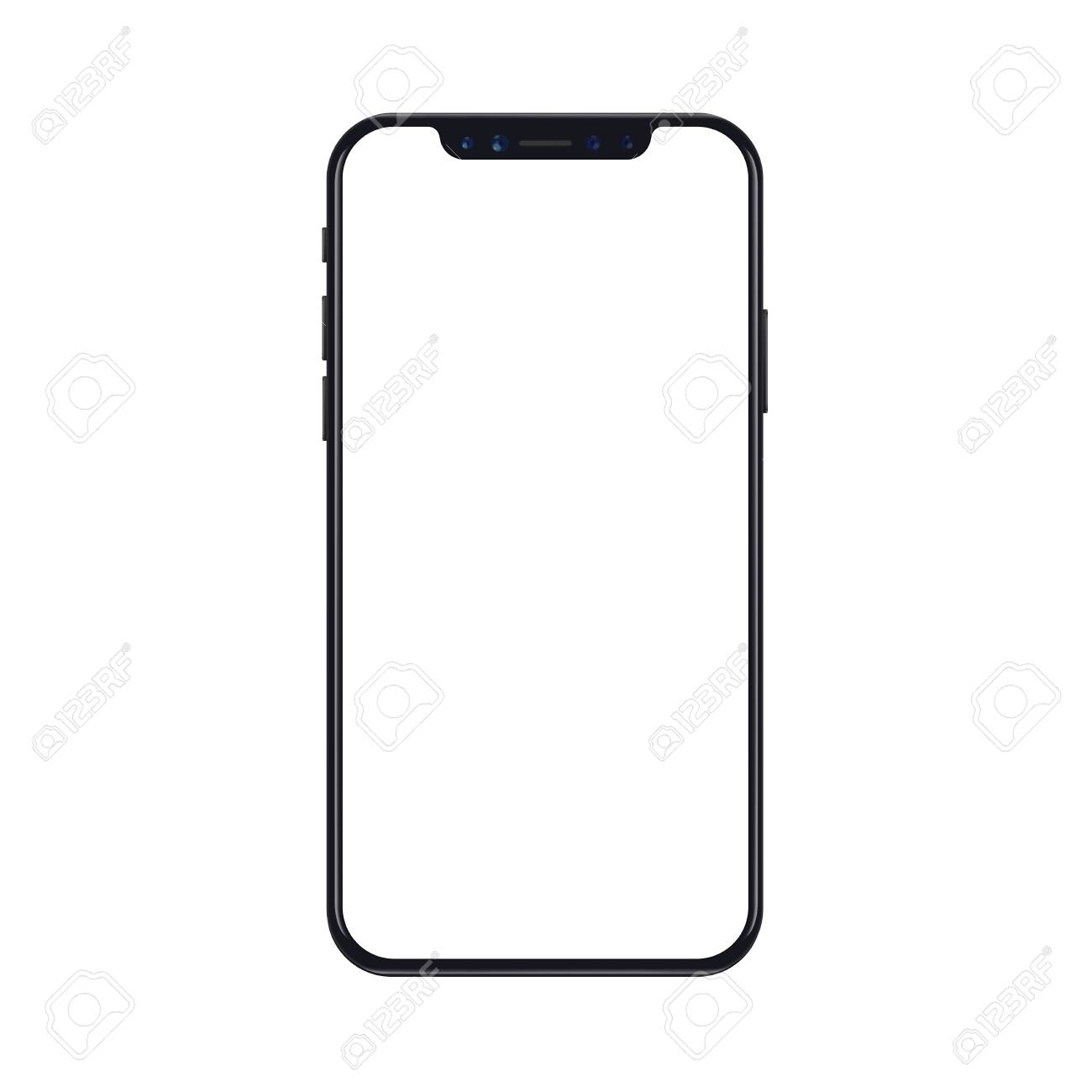272d35b44d1878 Mobile smartphone phone mockup isolated on white background with blank  screen. Realistic vector illustration.