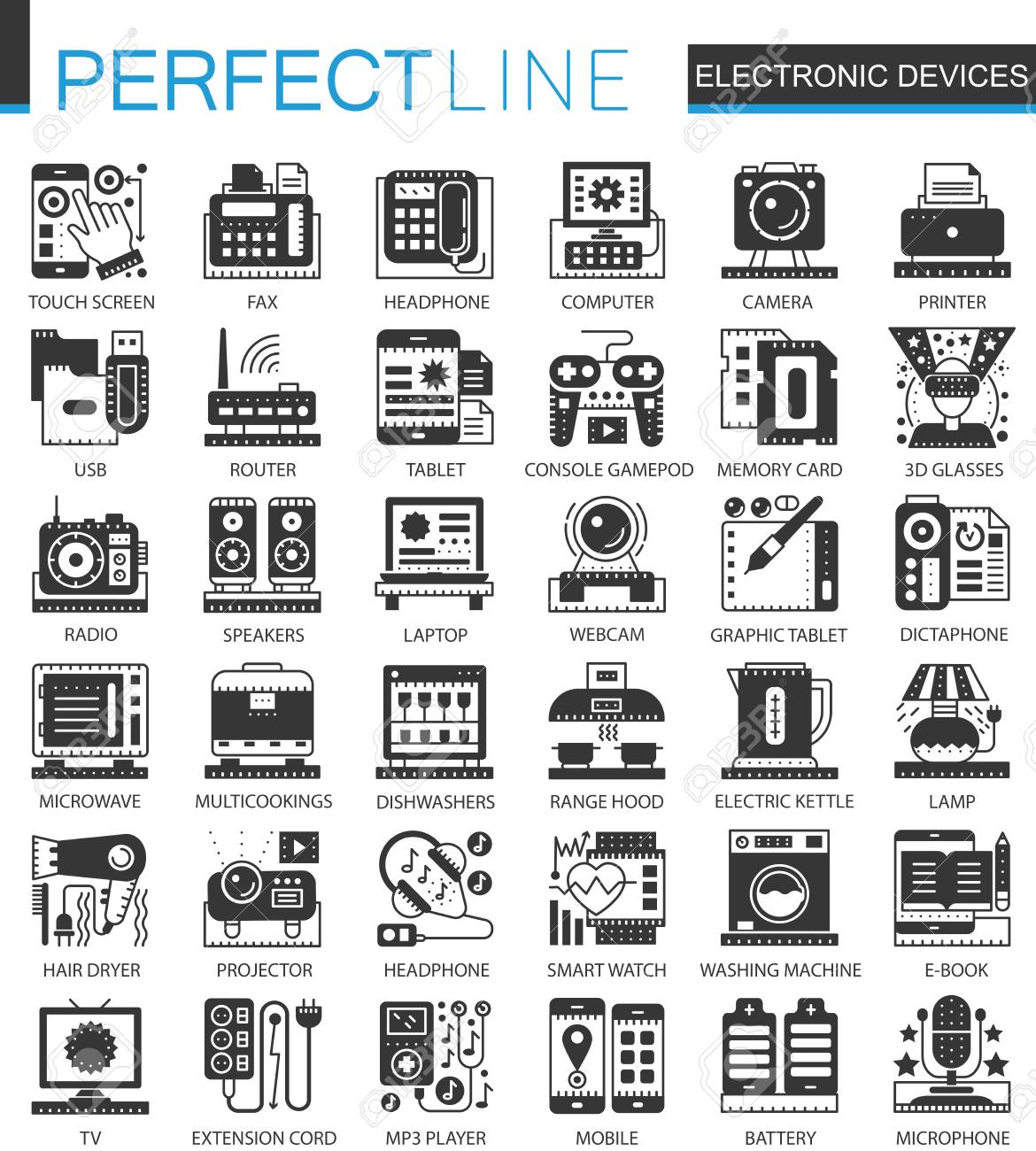 Outstanding Symbols Of Electronic Devices Festooning - Electrical ...
