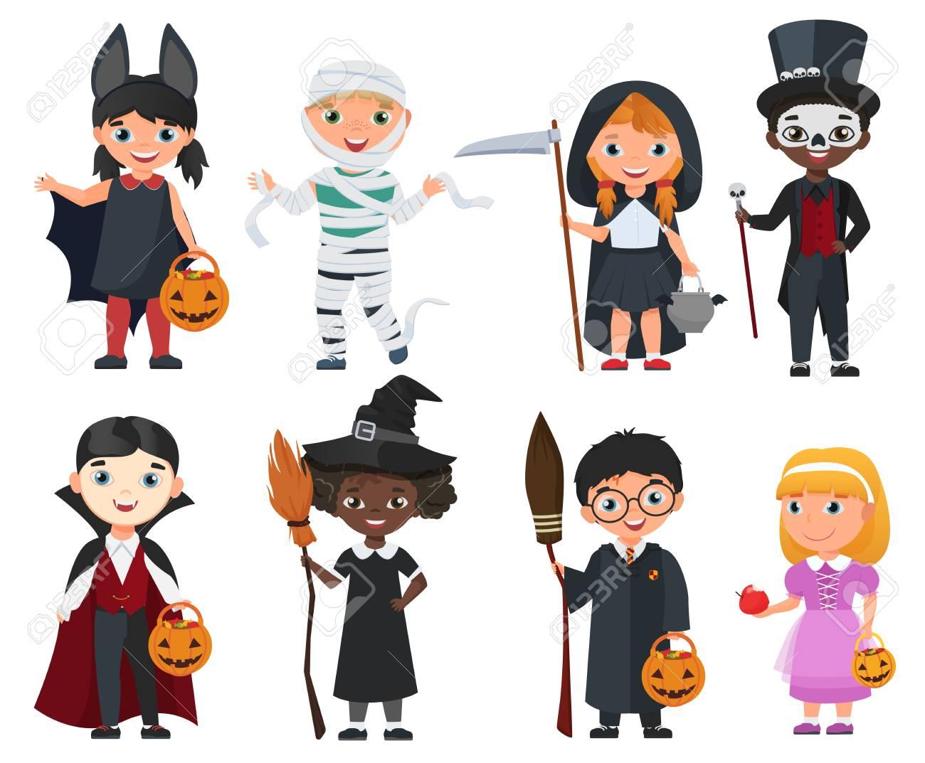 Cute Halloween kids set. Cartoon vector illustration - 87266654