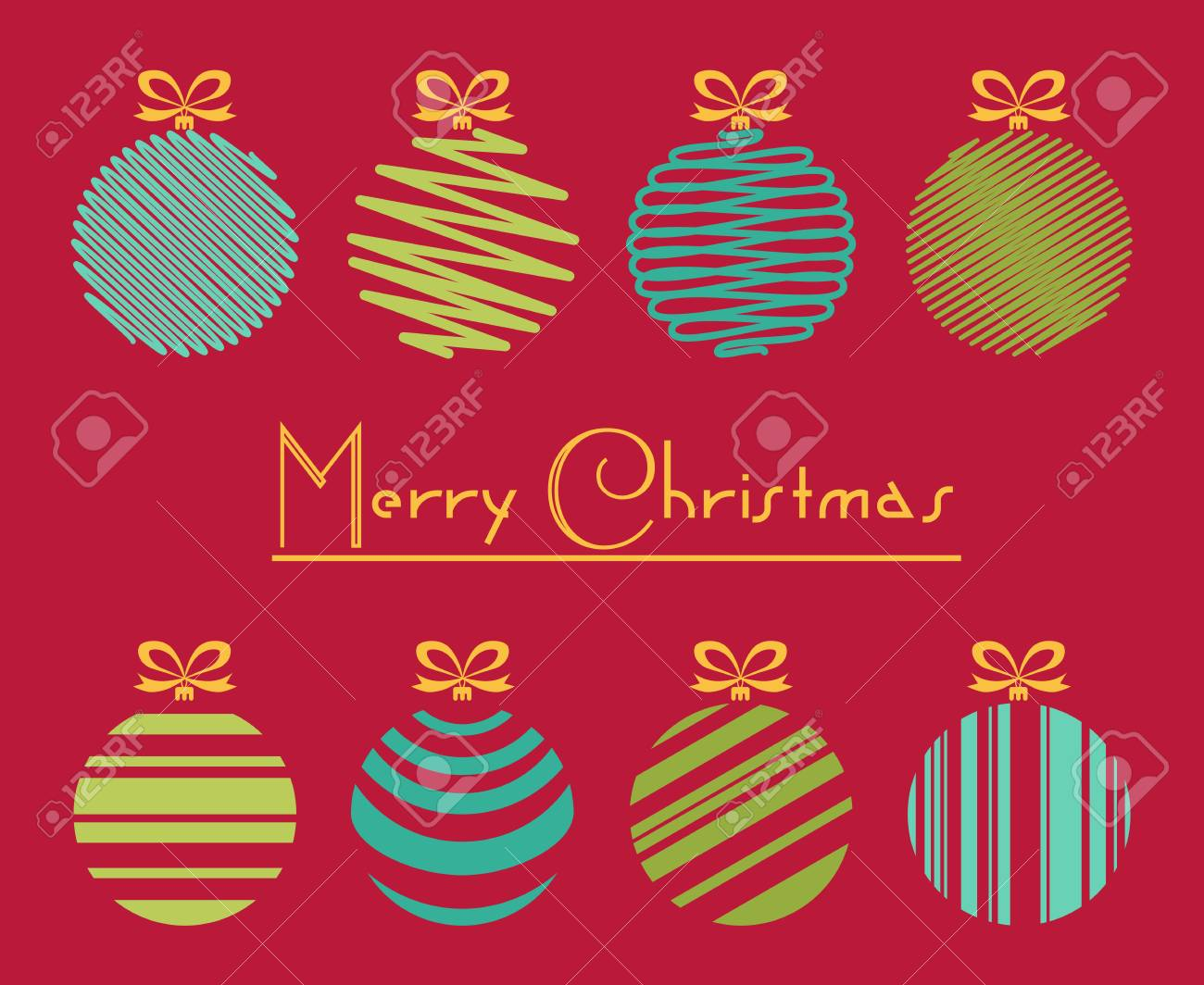 Vector illustration of green and blue lines drawn balls with vector vector illustration of green and blue lines drawn balls with merry christmas greeting card m4hsunfo