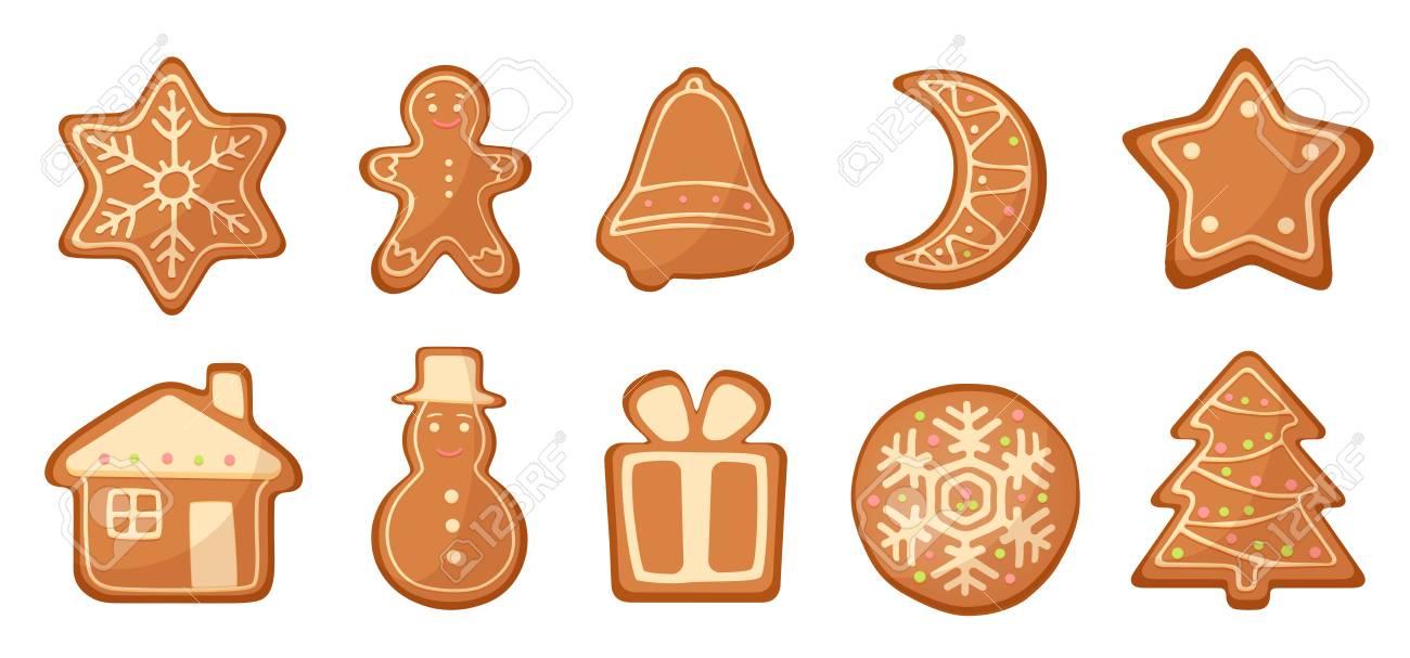 Vector Set Of Cartoon Gingerbread Christmas Cookies