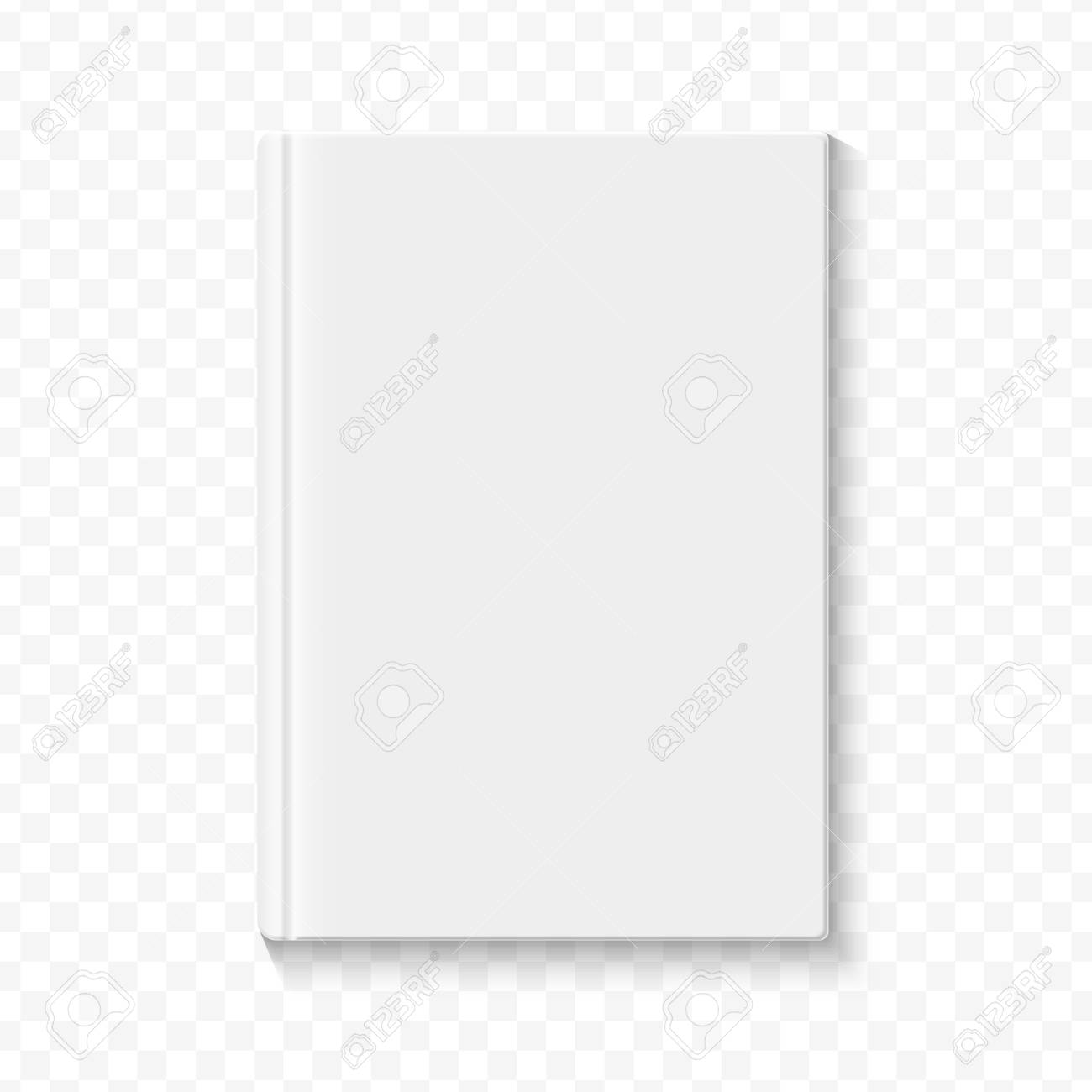 clear white blank book cover template on the alpha transperant
