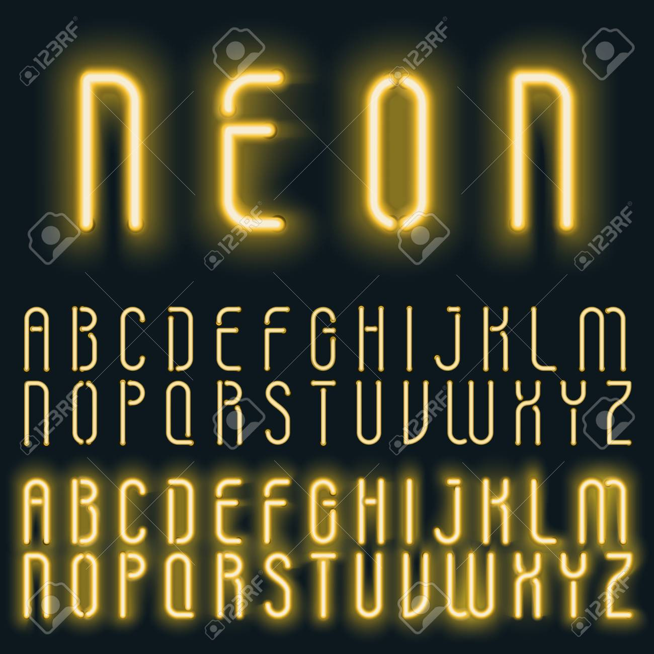 Neon golden yellow light alphabet vector font  Glowing text effect