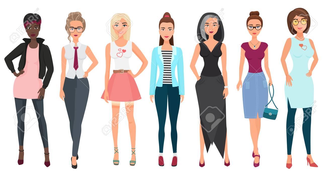 59e1f9cc7c61 Hermosas mujeres jóvenes lindas en ropa de moda. Caracteres femeninos  detallados de las muchachas Ilustración de vector de estilo plano.