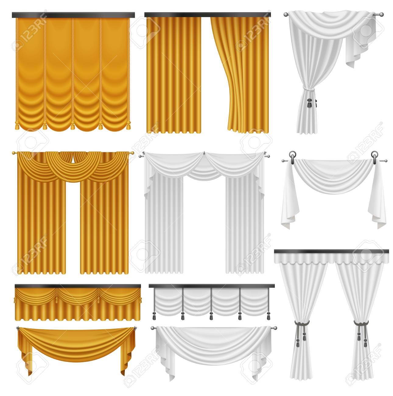 Oro Y Cortinas De Seda De Encaje Y Cortinas De Color Rojo Ilustración De Diseño De Decoración De Cortinas De Lujo Realista