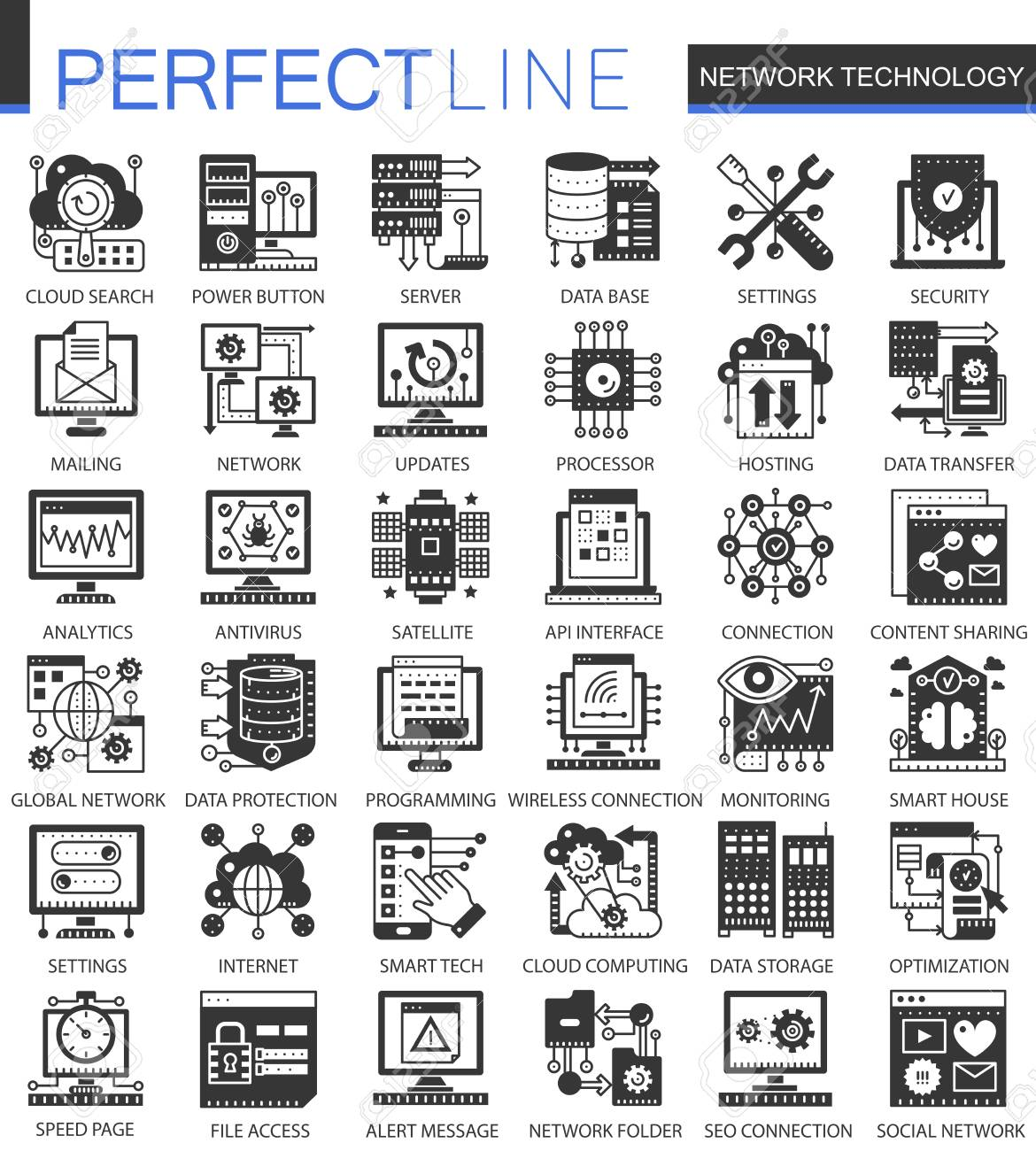 Network Technology Black Mini Concept Icons And Infographic Symbols ...