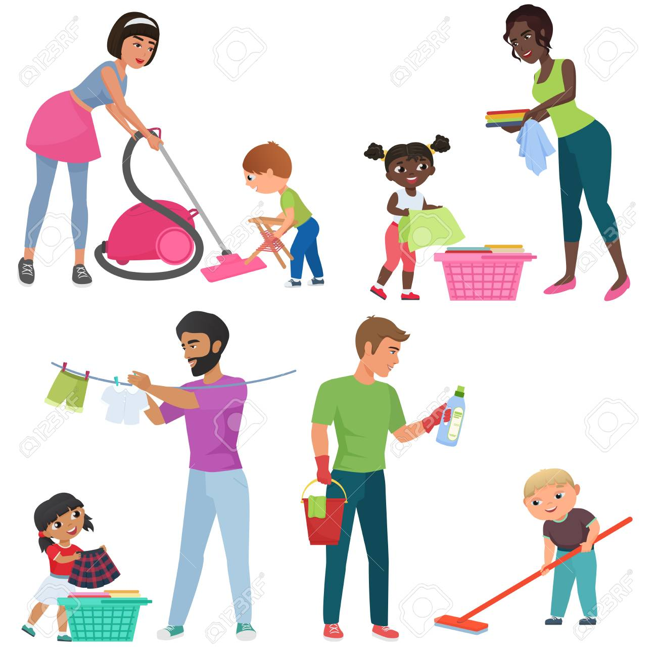 adults and kids cleaning together. children helping their parents