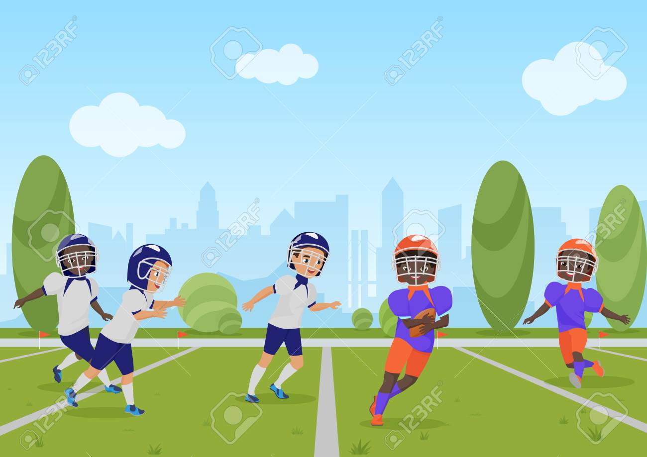 Kids Children Playing American Football Match Vector Illustration Royalty Free Cliparts Vectors And Stock Illustration Image 102363834