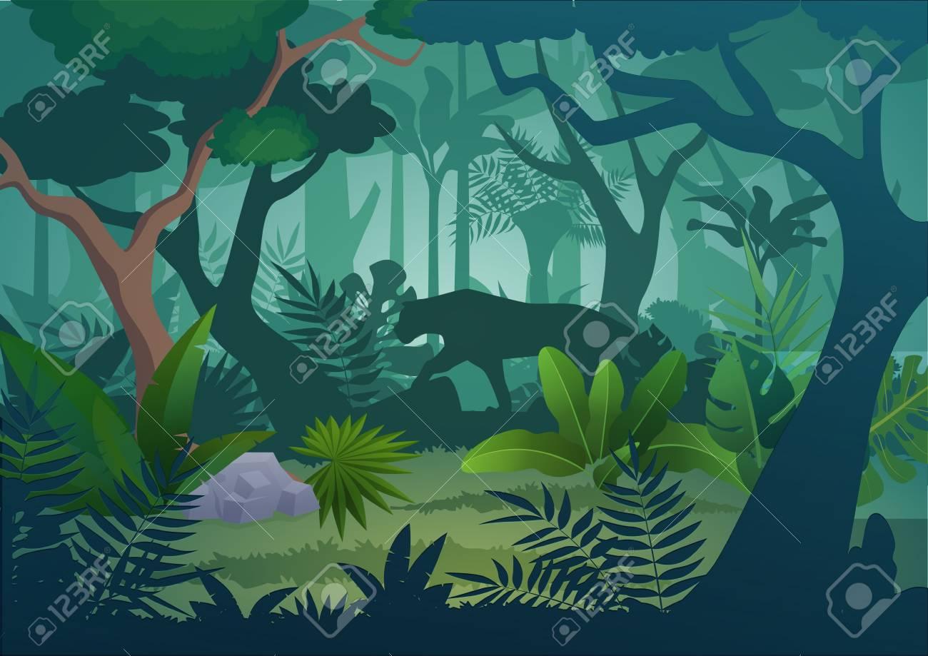 vector cartoon tropical jungle rainforest background with walking