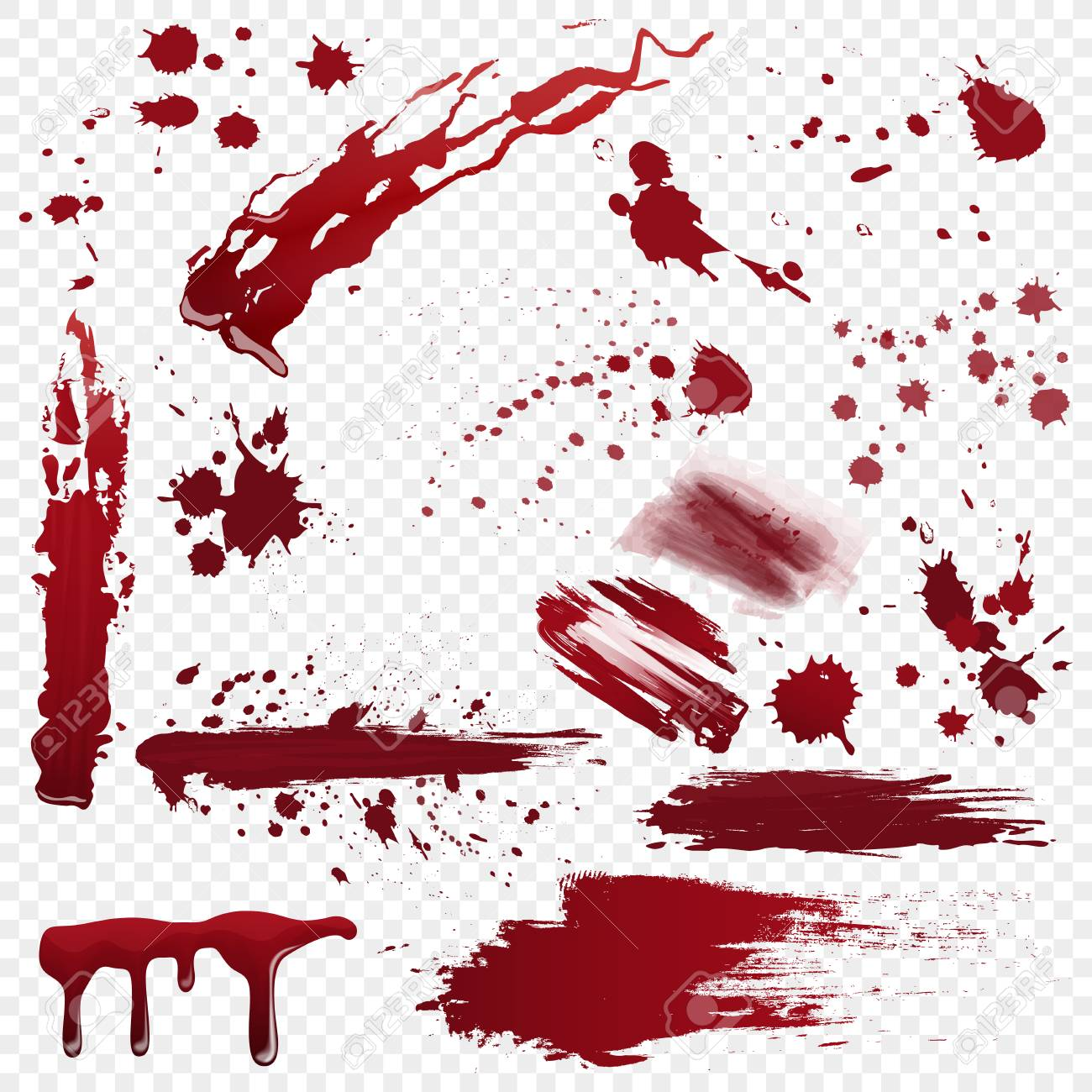 Set of vector various realistic detailed bloodstain, blood or paint splatters isolated on the alpha transperant background. - 105172385