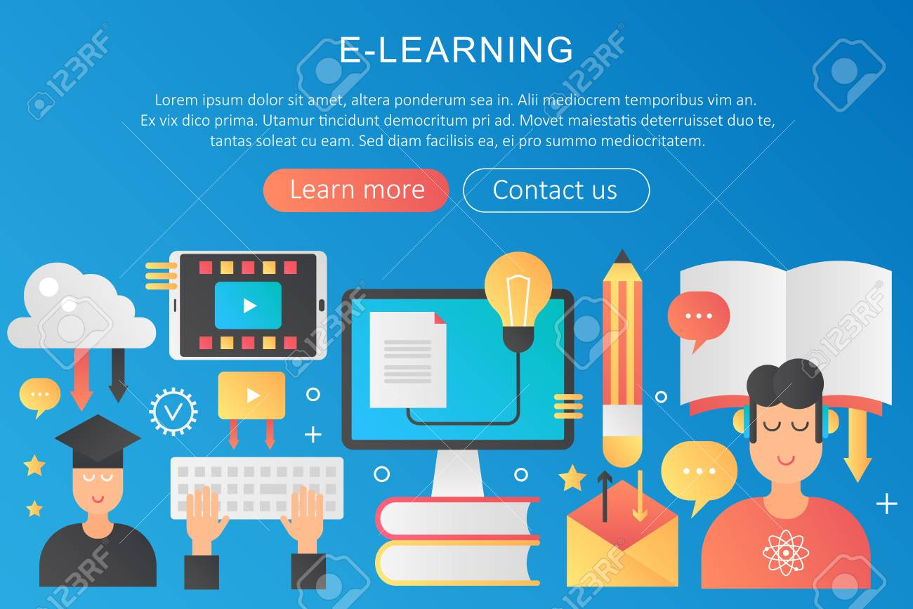 vector trendy flat gradient color elearning online learning concept