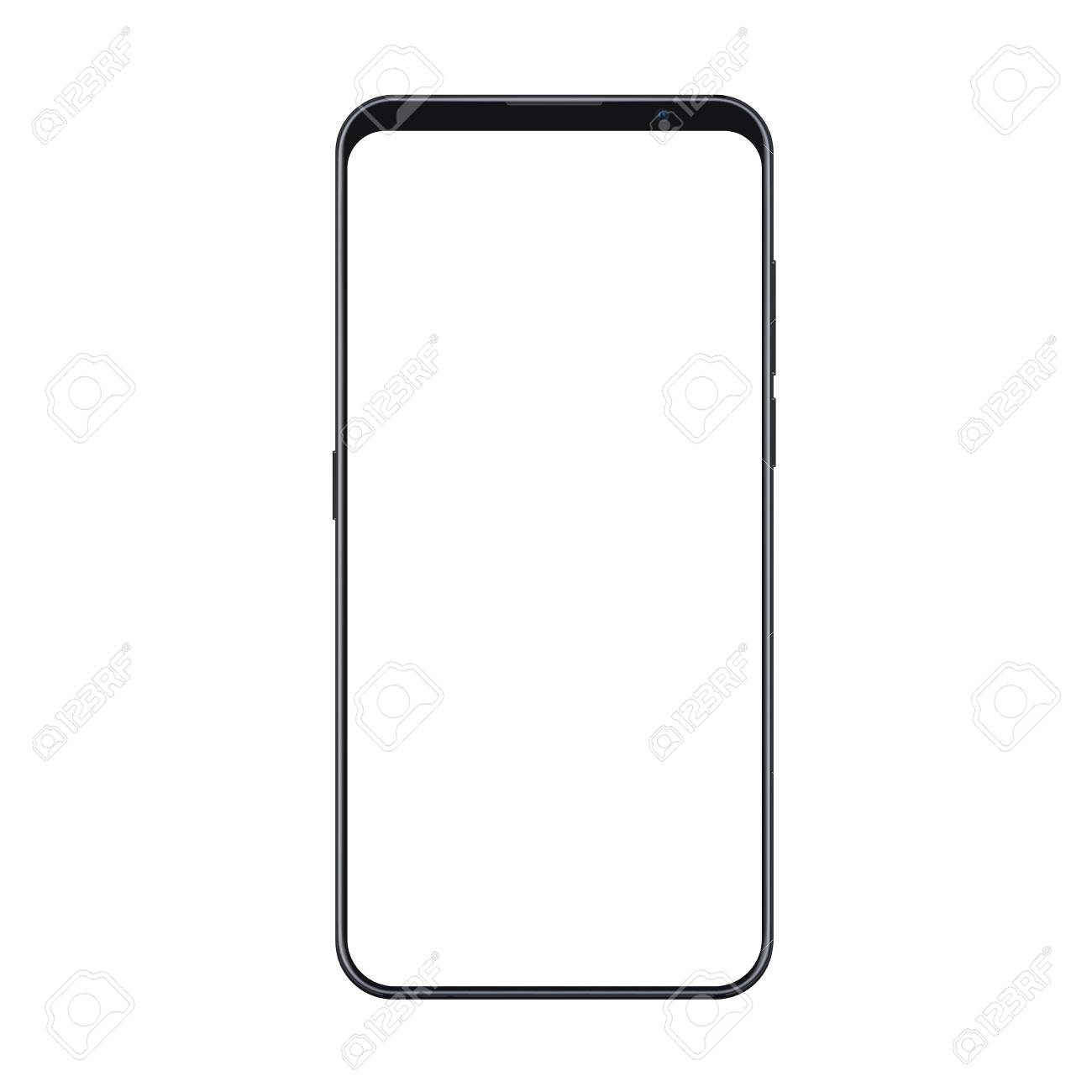 Realistic trendy smartphone mockup with thin frames and blank white screen isolated. Can be use for any user interface test or presentation. - 109271290